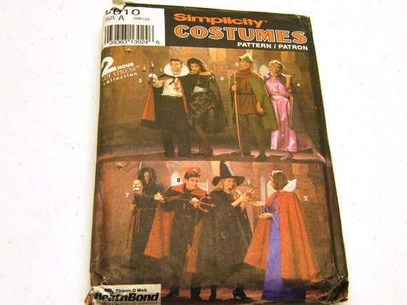 Halloween Costumes Robe, Tunic, Cape, Headpieces (Simplicity 8010) Size Sm-Lg