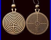 Labyrinth Pendant- Gold Tone- 2 Sided - %20 Off - - SALE - sale - SALE - sale - SALE -