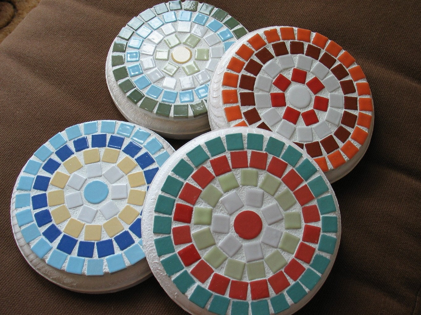 Colorful Mosaic Coasters by ringmosaics on Etsy