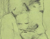 Seated Male Nude Figure drawing on Green paper in graphite  and ball point pen