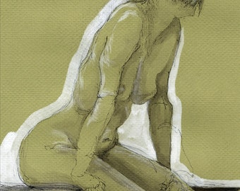 Emily Poster Figure drawing Nude woman Green and White - fine art poster