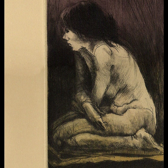 Diana Color Intaglio print Edition of 40 signed numbered figure drawing etching