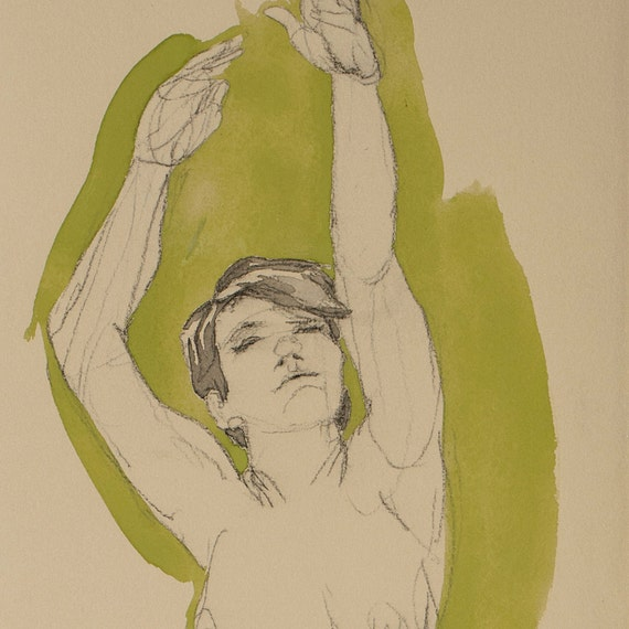 Jane Reaching (Green) paint on paper figure drawing female nude original signed