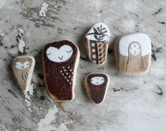 Brown Beach Pottery Collection of Five - Jizo, Owls and Ikebana