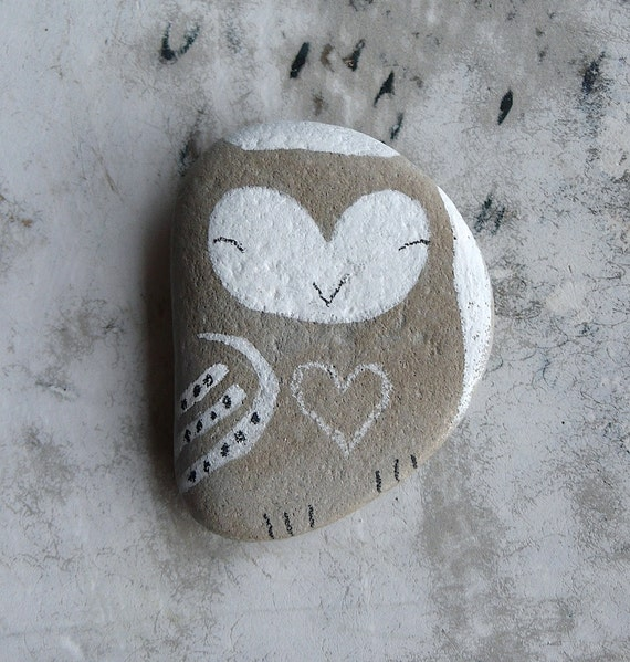 Flat Beach Stone Owl with a Heart