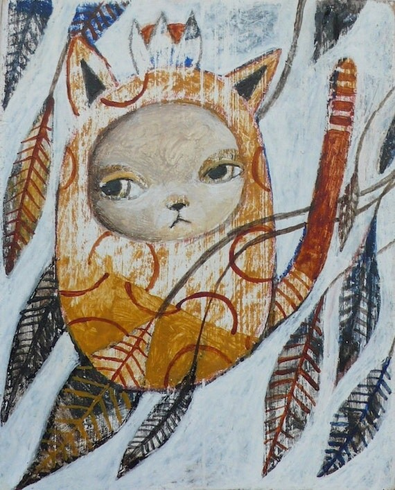 Miniature Original Painting, Wooden Block - Cat With A Crown And Leaves