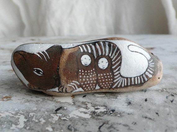 RESERVED - Story Stone - LARGE Beach Stone Cat with Two Jizo Bodhisattvas