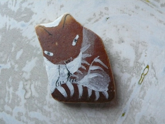 Beach Pottery Cat, RESERVED for anticovalore