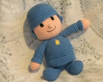 PDF INSTANT DOWNLOAD - Pocoyo - 12 inches / 30 cm amigurumi doll crochet pattern in English language.