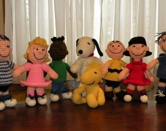 SPECIAL OFFER - 8 amigurumi crochet pattern from Peanuts - Snoopy, Charlie, Woodstock, Sally, Lucy, Franklin, Linus, Pigpen