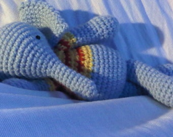 PDF - Francis, the elephant -  10,8 inches amigurumi doll crohet pattern Available in English or Spanish language