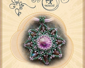 pendant tutorial / pattern Flowery Adalbert with swarovski rivoli.. PDF instruction for personal use only