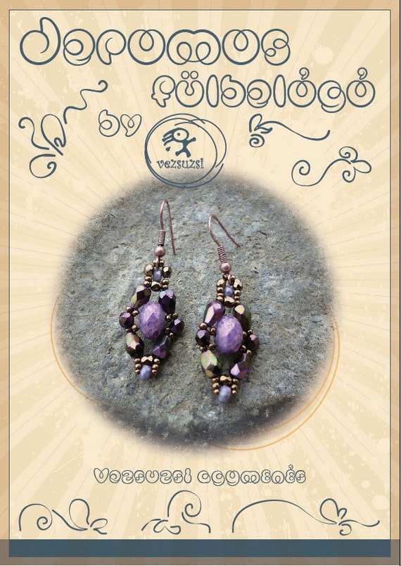 beading pattern  Jeromos earring...PDF instruction for personal use only