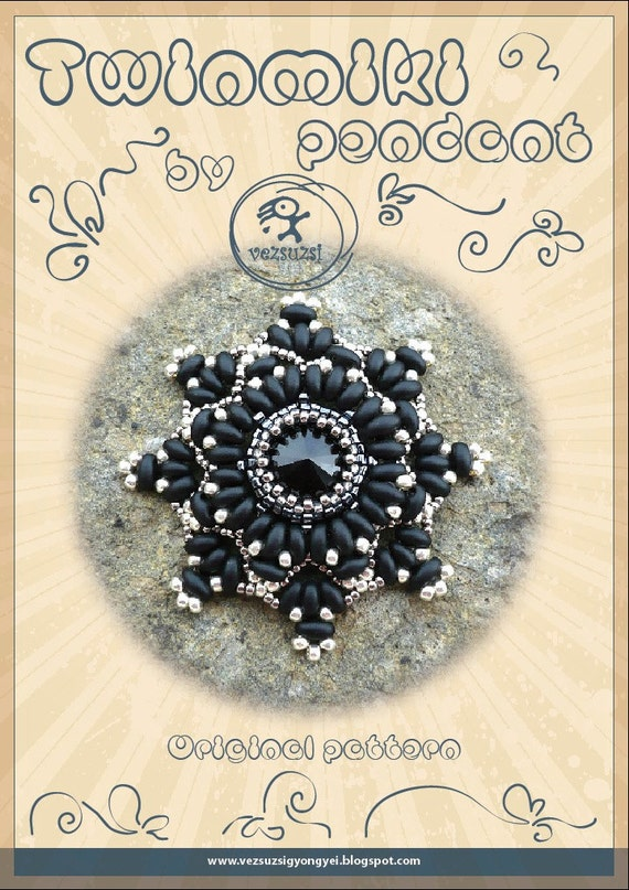 pendant tutorial / pattern Twinmiki pendant with twin beads...PDF instruction for personal use only