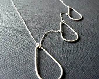 Long Necklace. Raindrops. Tears. Teardrops. Statement. Sterling Silver. Handmade. Weather. Fluid. No clasp.