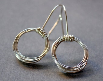 Contemporary Circular Sterling Silver Earrings. Circe. Loops. Hoop. Round. Delicate. Wire-wrapped.