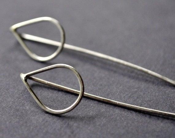 Long Raindrop Earrings. Handmade. Sterling Silver. Simple. Weather. Tear. Teardrop. Eco. Jewellery. Jewelry. Australia.