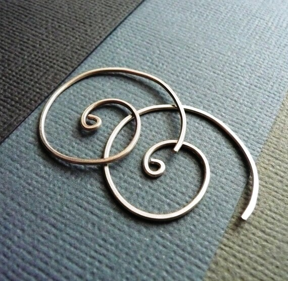 Spiral Earrings. Modern Contemporary Simple Sleek Elegant Design. Sterling Silver Jewelry. Handmade by Epheriell on Etsy.