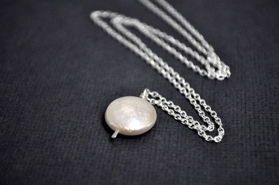 Coin Pearl Necklace. 18 inches. White Pearl. Simple. Sleek. Bridal. Wedding. Modern. Everyday. Classic. Handmade.