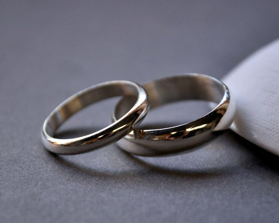 Wedding Rings. Wedding Band Set. High Shine. Holiday Rings. Modern Contemporary Simple Sleek.Sterling Silver. Jewellery. Jewelry.