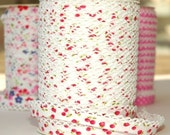 Bias Tape  Double Fold  Cherries and Strawberries Cotton and Crochet Lace