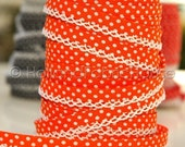 Bias Tape - Orange Polka Dot Double Fold