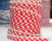 Bias Tape  Double Fold  Red Gingham Cotton and Lace Crochet