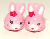 Kawaii Jingle Bell Charms -- Bunnies in Pink: Set of 2