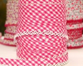 Double fold picot crochet edge bias tape, crochet bias tape, picot edge bias tape, lace bias tape, pink bias tape, gingham bias tape