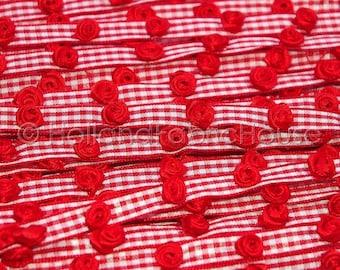 Darling Rosebuds Red Gingham Ribbon