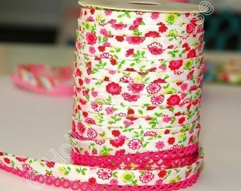 Bias Tape Pink Floral Cotton and Lace Double Fold