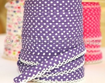 Double fold crochet edge bias tape, crochet bias tape, lace bias tape, purple bias tape, polka dot bias tape