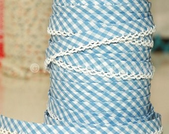 Bias Tape - Baby Blue Gingham Cotton and Lace Double Fold