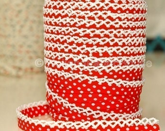 Double fold crochet edge bias tape, crochet bias tape, lace bias tape, red bias tape, polka dot bias tape