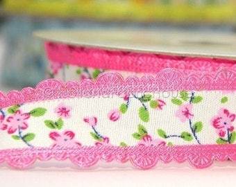 Floral Delight in Hot Pink - Ribbon/Sewing Tape