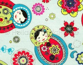 Cotton fabric, babushka fabric, kids fabric, doll fabric, blue fabric, folklore fabric,  Babushka Folklore in pale blue