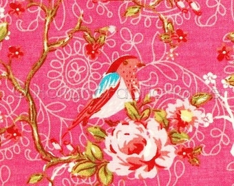 Cotton fabric, pink floral fabric, pink fabric,pink  flowers fabric, extra wide fabric, Blooms and Blossoms in candy