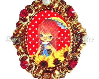 Big Eyed Girl with Rubies and Peals XL size iron-on transfer