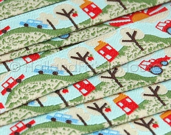 Country Lanes - Cute Cars & Tractor ribbon/sewing tape