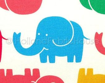 Cute Elephants in Multi Japanese Fabric -- 0.5 yard