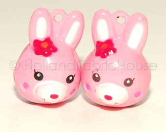 Kawaii Jingle Bell Charms -- Bunnies in Pink: Set of 2