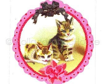 Vintage Kittens XL size iron-on transfer