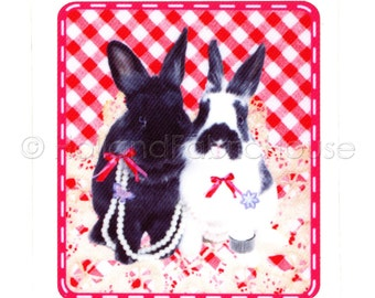 Posh Bunnies - Cute Rabbits XL size iron-on transfer