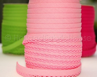 Bias Tape in Solid Pink Cotton and Lace - Double Fold