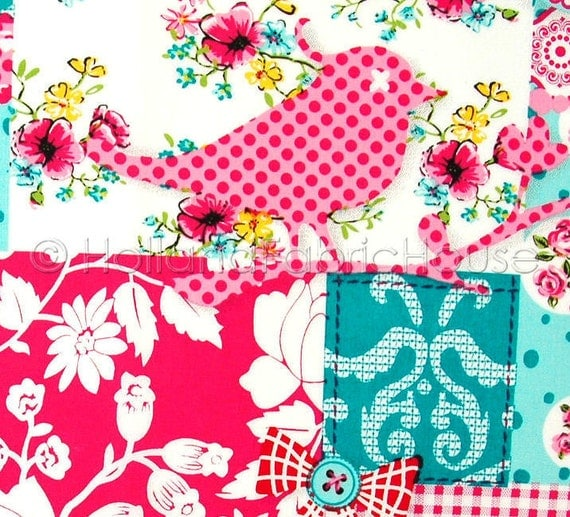Patchwork fabric, flowers fabric, cotton fabric, floral fabric, pink fabric, Shabby Chic Birds and Blooms in Fresh Rose