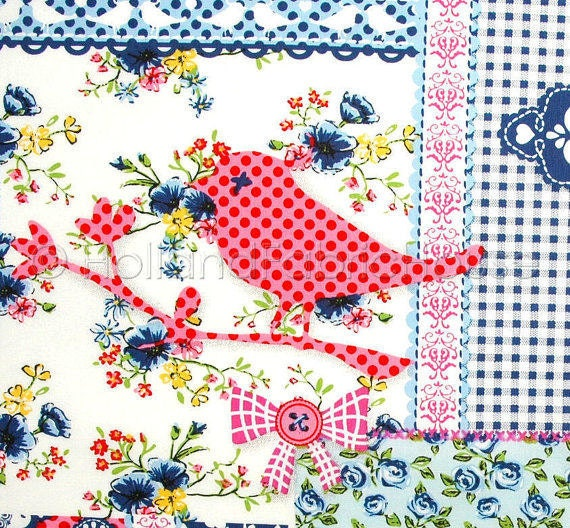 cotton fabric, patchwork fabric, flowers fabric, floral fabric, pink fabric, Shabby Chic Birds and Blooms in Royal Blue