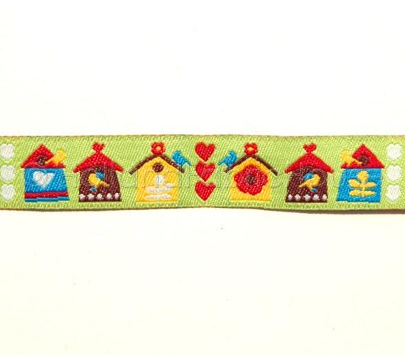 Bird Houses - Dutch design ribbon sewing tape -- 1 metre