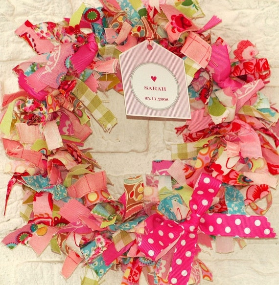 Personalized fabric wreath for a baby girl for Baby girl fabric