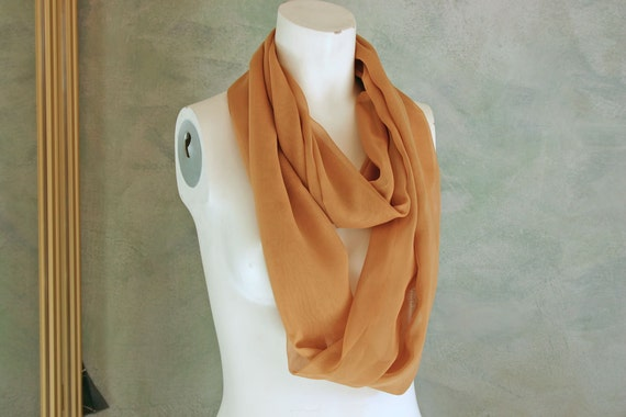 SALE Reduced 20% Pale Gold Silk Chiffon 35-in Infinity Scarf/Cowl Gift for Her