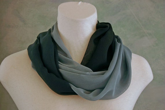 SALE 20% Off Navy & Cadet Blue Ombre Silk Chiffon 30-in Infinity Scarf/Cowl Gift for Her